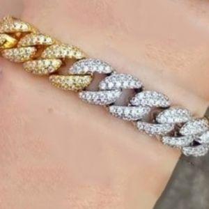 New 18k Gold Filled Curb Chain CZ Paved Bracelet